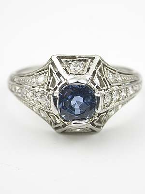 Art Deco Sapphire Antique Engagement Ring