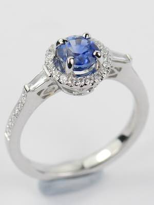 Sapphire Engagement Ring with Diamond Halo