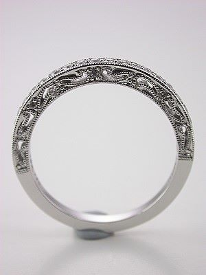 Filigree and Diamond Wedding Band