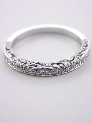 Filigree and Diamond Vintage Style Wedding Ring