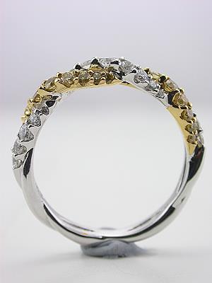 Swirling Wedding Band with Fancy Yellow Diamonds