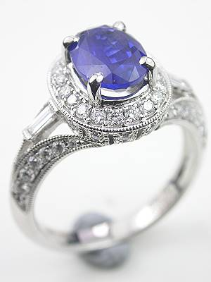 Oval Sapphire Engagement Ring with Diamond Baguettes