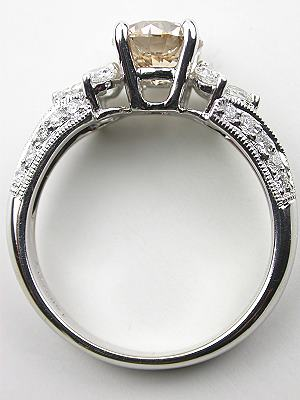 Champagne Diamond Engagement Ring with Pear Cut Diamonds
