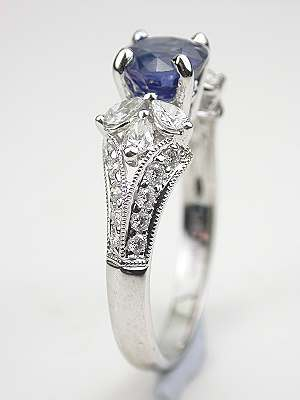 Sapphire and Pear Shaped Diamond Ring
