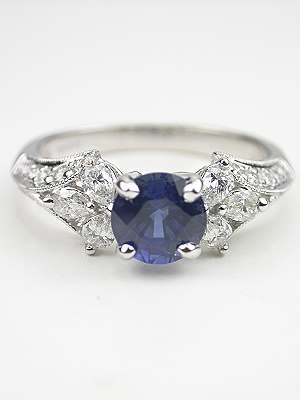 Sapphire and Pear Shaped Diamond Engagement Ring