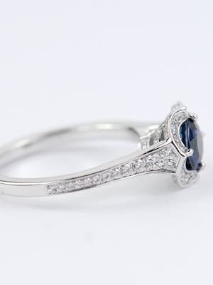 Sapphire Engagement Ring with Ribbon Motif