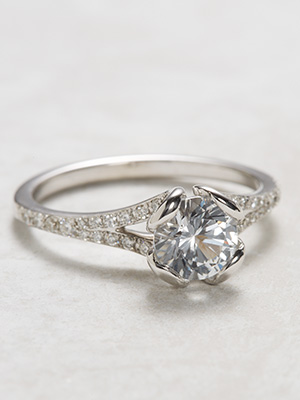 Contemporary White Sapphire Engagement Ring
