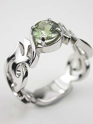 Contemporary Green Sapphire Engagement Ring