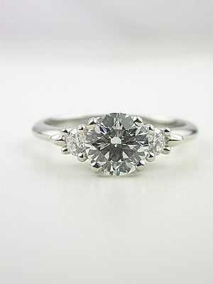 Heart and Scroll Motif Diamond Engagement Ring