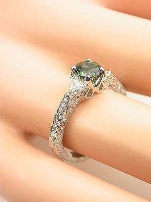 Antique Style Green Sapphire Engagement Ring