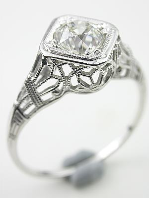 Art Deco Old European Cut Diamond Engagement Ring