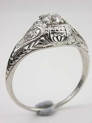 Edwardian Antique Filigree Engagement Ring