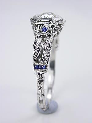 Kissing Bird Motif Antique Engagement Ring