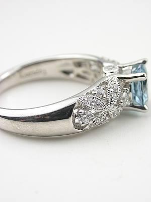 Aquamarine Floral Engagement Ring