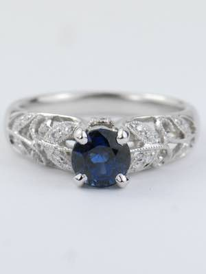 Sapphire Engagement Ring with Garden Motif