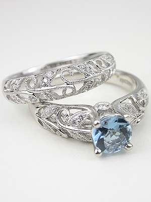 Vintage Inspired Aquamarine Engagement Ring