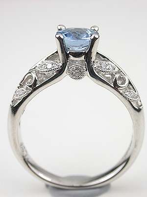 Aquamarine Engagement Ring with Vine and Leaf Motif