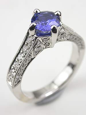 Filigree Sapphire Engagement Ring In The Antique Style Rg 3175a