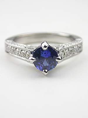 Filigree Sapphire Engagement Ring in the Antique Style