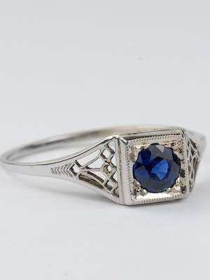 Antique Filigree Sapphire Engagement Ring