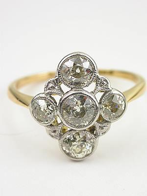 Old European Cut Diamond Dinner Ring with Quatrefoil Design