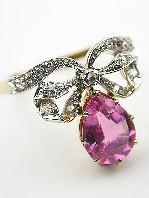 Antique Cocktail Ring with Romantic Bow Motif