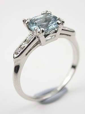 Antique Aquamarine Engagement Ring in Platinum