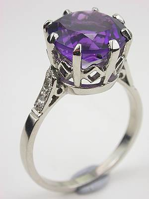Platinum and Diamond Amethyst Cocktail Ring