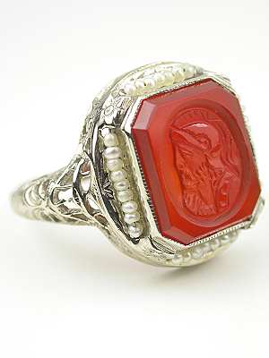 Carnelian Cameo and Pearl Antique Ring