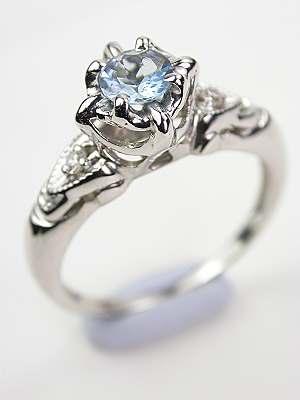 Vintage Aquamarine Bridal Rings Set