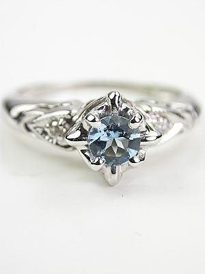 Vintage Aquamarine Bridal Rings Set