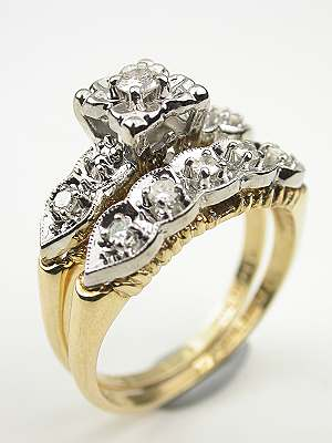 Vintage Diamond Bridal Rings Set