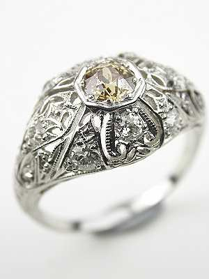 Antique Filigree Engagement Ring with Champagne Diamond