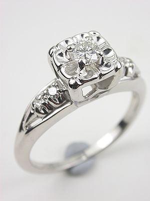 Diamond Engagement Ring with Illusion Setting