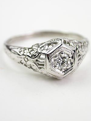 Vintage Floral and Filigree Engagement Ring