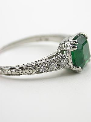 Edwardian Inspired Vintage Emerald Engagement Ring