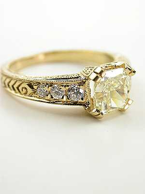 Vintage Style Engagement Ring with Radiant Cut Diamond