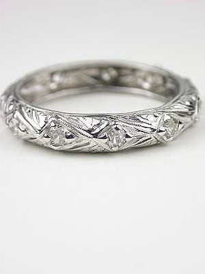 Filigree and Diamond Vintage Wedding Ring