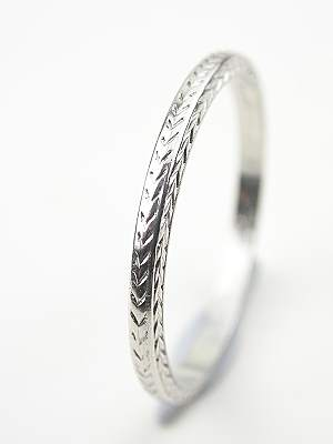 Antique Platinum Wedding Ring with Wheat Motif