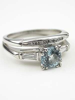 Aquamarine and Platinum Vintage Bridal Rings Set