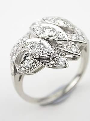 Platinum and Diamond Antique Cocktail Ring