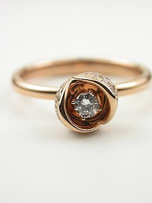 Rose Gold Diamond Ring with Rose Petal Motif