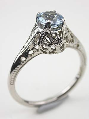 Antique Aquamarine Filigree Engagement Ring