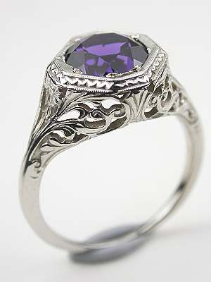 Amethyst Antique Engagement Ring