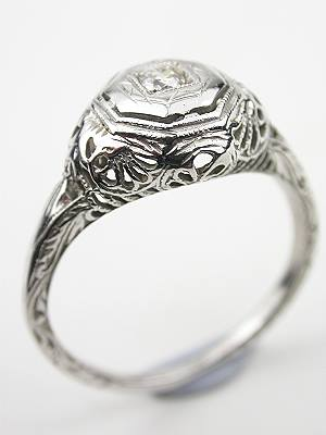 Antique Filigree and Diamond Engagement Ring