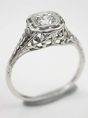 Floral and Filigree Antique Diamond Engagement Ring