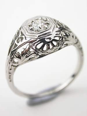 Late Edwardian Antique Filigree Engagement Ring