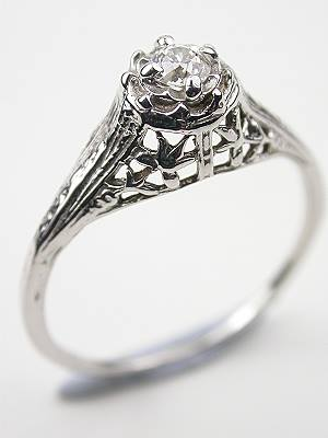 Old European Cut Diamond Engagment Ring with Illusion Setting