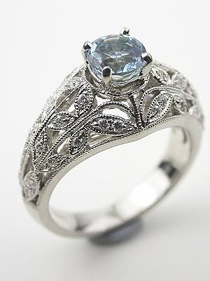 Antique Style Aquamarine and Filigree Engagement Ring