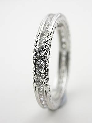 Diamond Eternity Band with Carved Motif